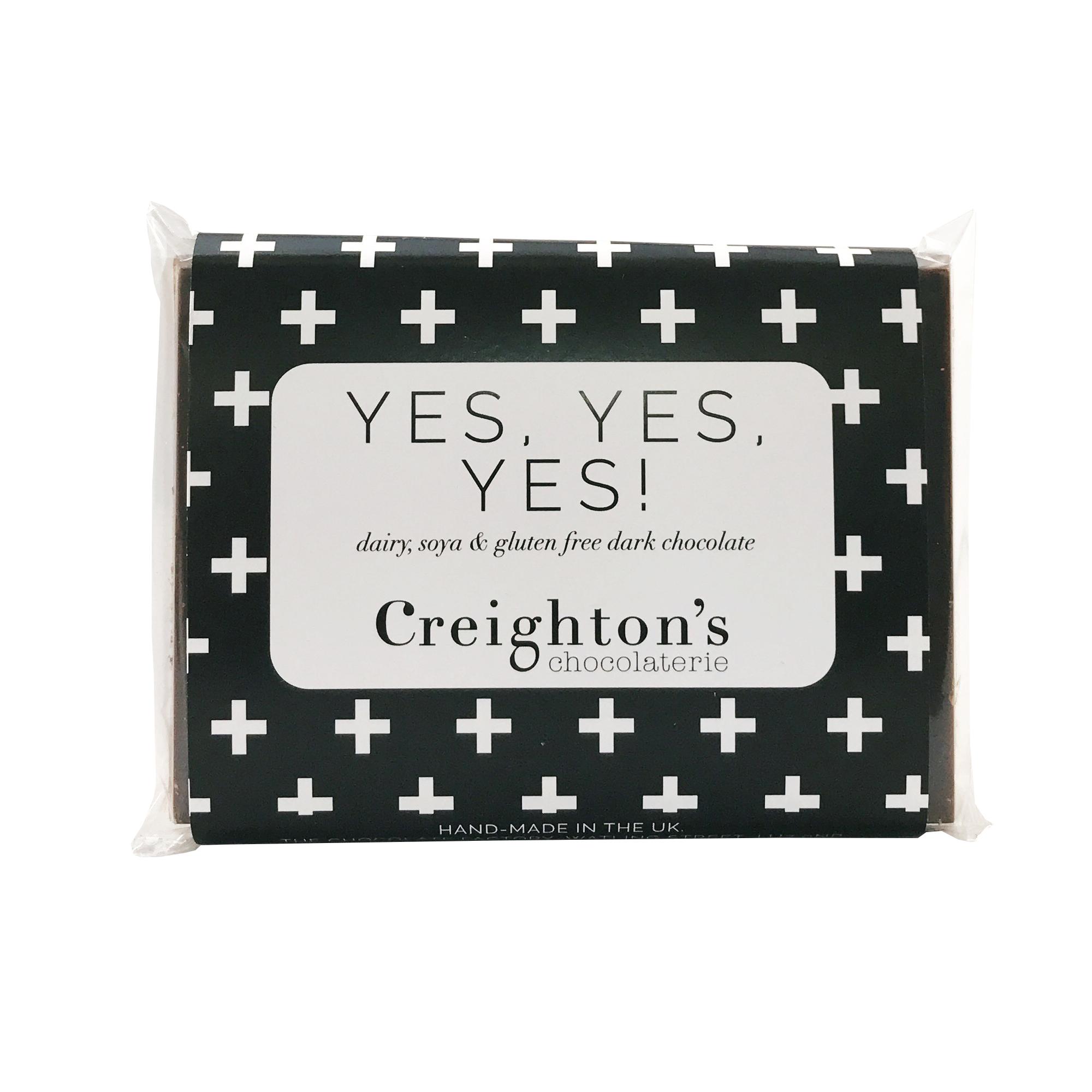Yes Yes Yes Gluten Soya Free Dark Chocolate Bar Sale Creightons Chocolaterie
