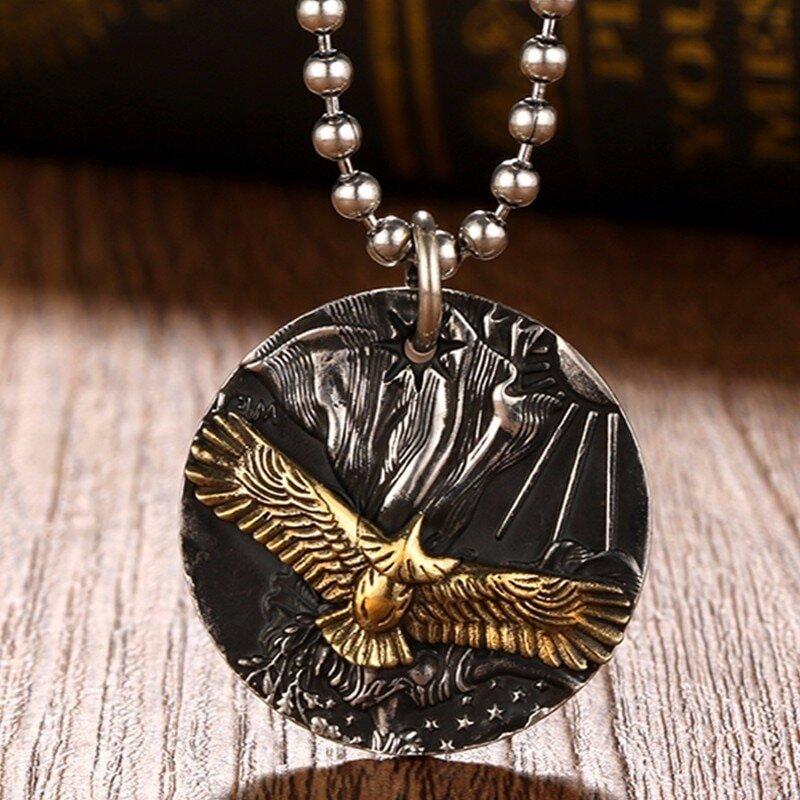 The American Golden Eagle 999 Silver Pendant Necklace Argenti