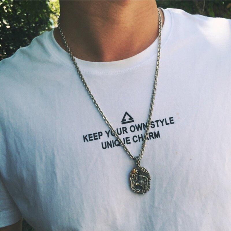 Native American Pride Men S Silver Pendant Necklace Argenti