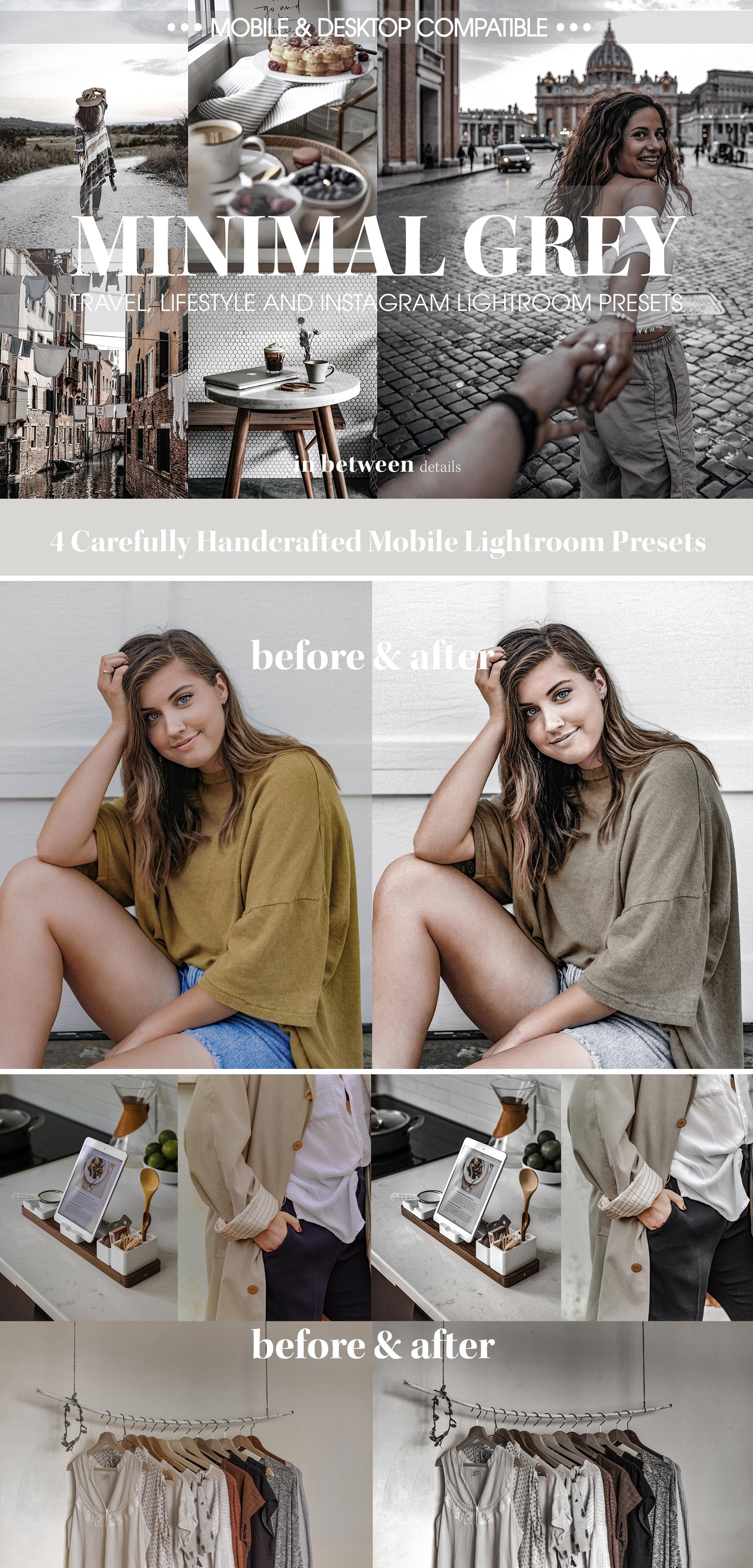 Minimal Grey Lightroom Mobile Preset Collection — Lightroom Presets by in  between details