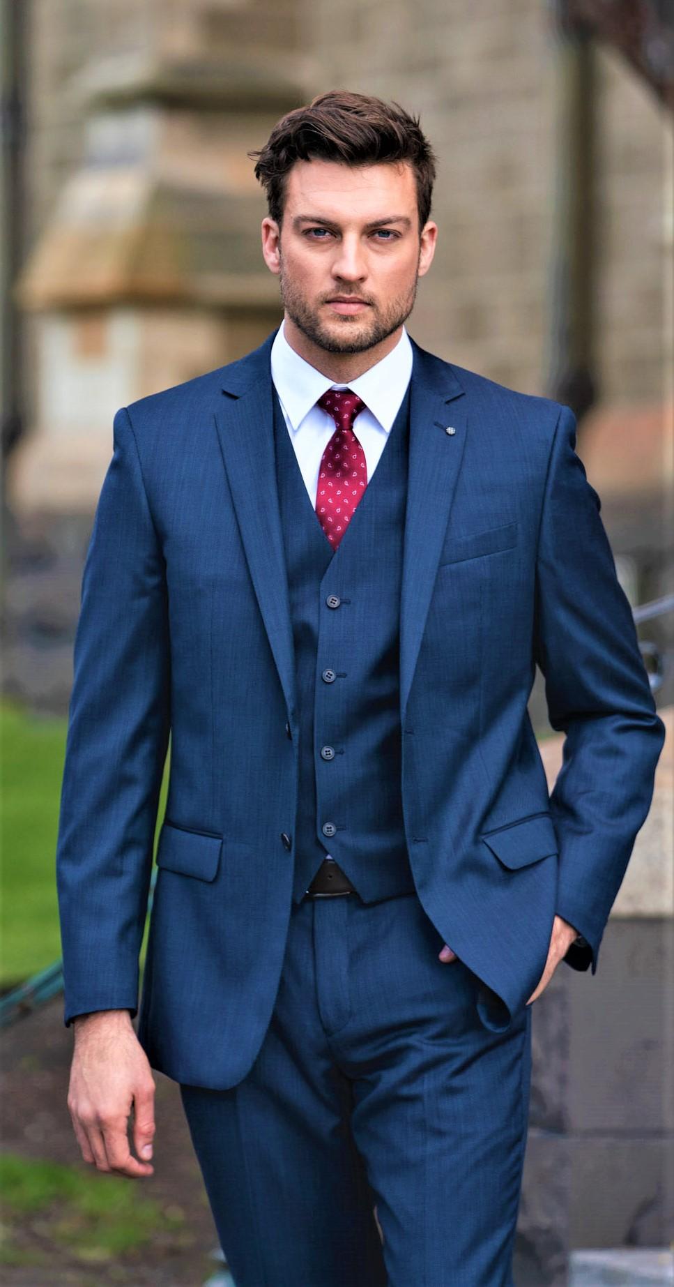 size 40 10210 fd85b Daniel Hechter 100% Wool Cross Dye End on End Suit — Ron Bennett Menswear