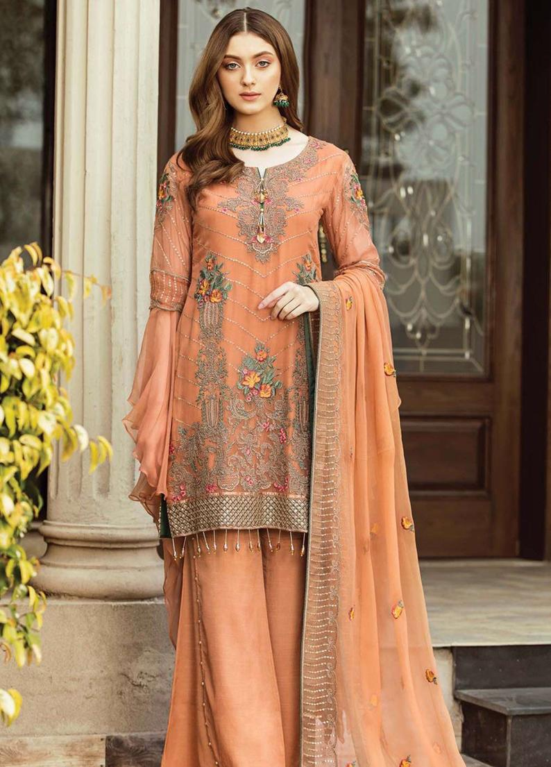 4e675819ed Orignal Afrozeh Embroidered Chiffon Unstitched 3 Piece Suit OCHRE GLOW -  Luxury Collection Pakistani Designers