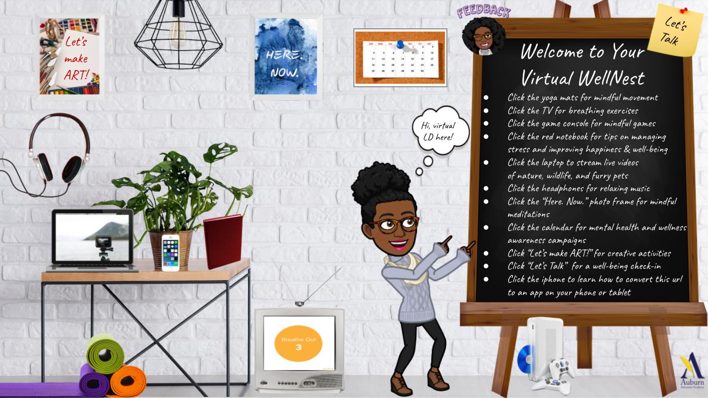 虚拟WellNest -一个专门的在线健康空间与工具,  资源, 以及帮助学生制定健康的应对策略的活动, 管理压力, 增强专注力,提高幸福感.