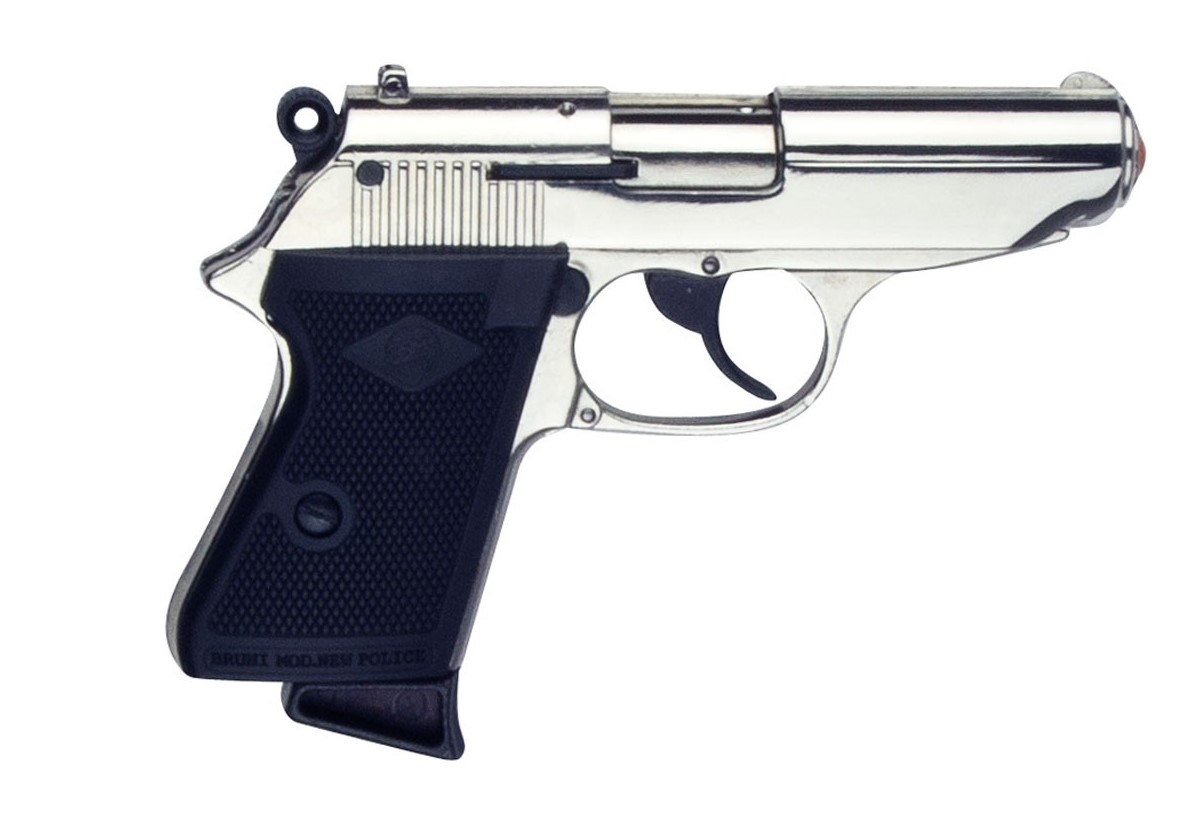 Bruni Walther PPK 007 James Bond Auto Top Firing Blank Movie Prop Gun in  Nickel, 8mm
