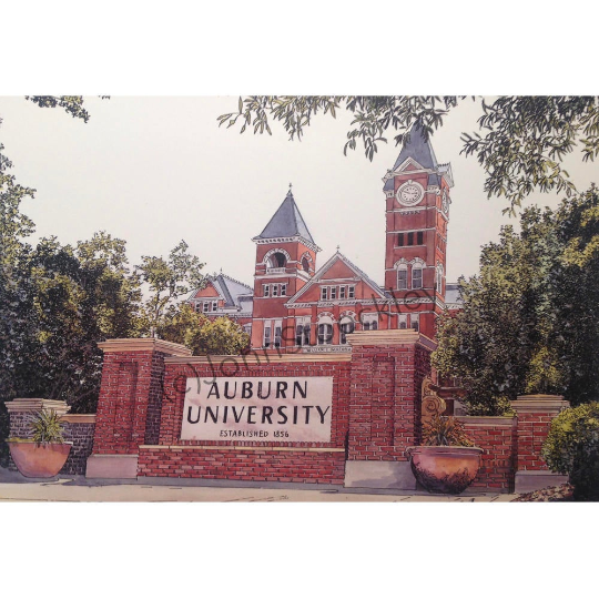 Auburn University Campus Art by artist John Stoeckley  Richly drawn   Meticulously accurate  — Reflections