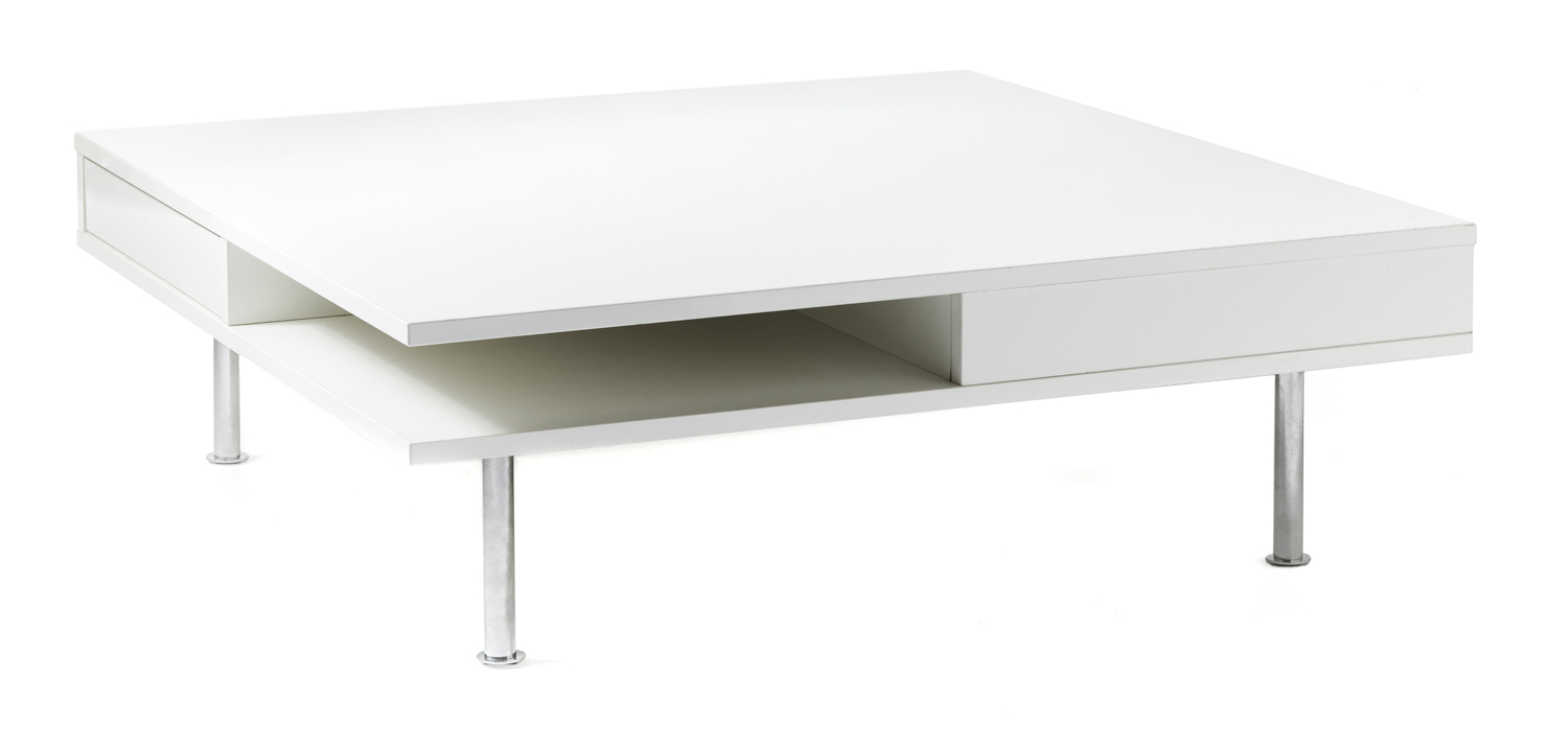 Rachel White Lacquer Square Coffee Table Kennedy Collection
