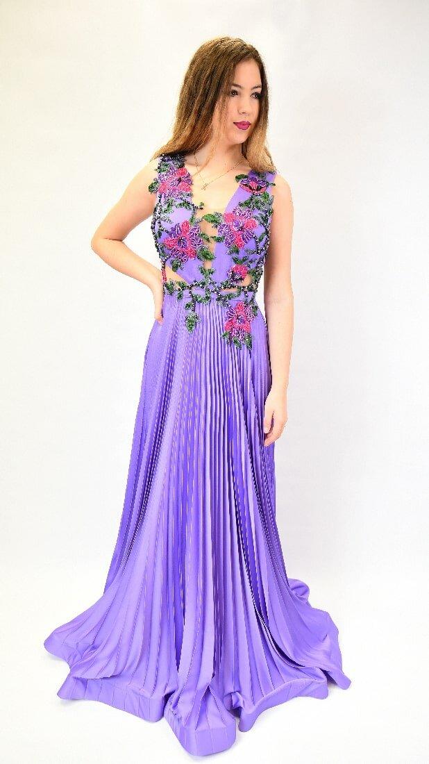 Purple Silk Taffeta Dress With Flower Embroidery