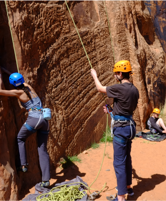 After many practices on our indoor climbing wall, students expand their rock climbing skills in Moab, UT.