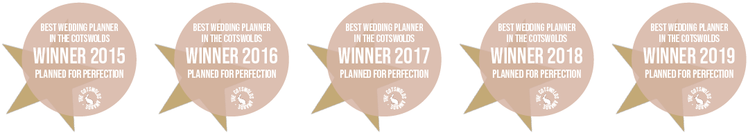 Winner of 'Best 婚礼Planner in the Cotswolds' for 5 years running