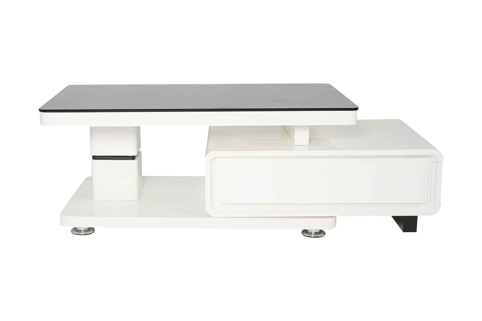White Gl Top Coffee Table With