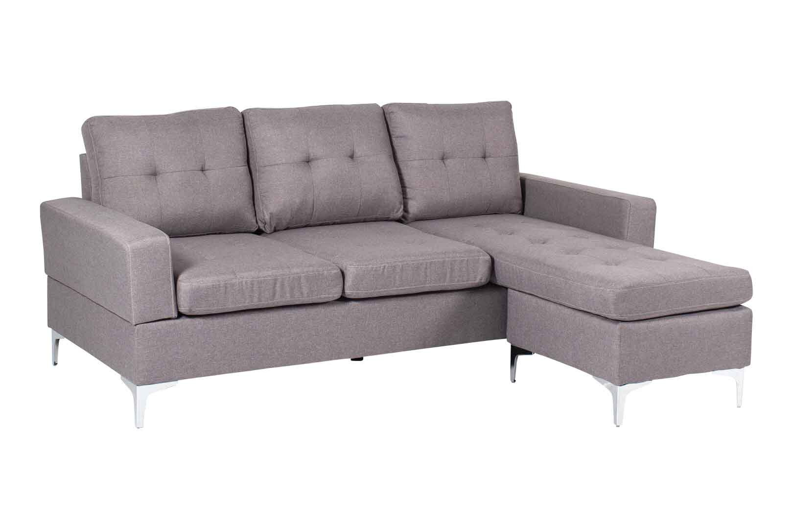 3 Seater L Shape Fabric Sofa With