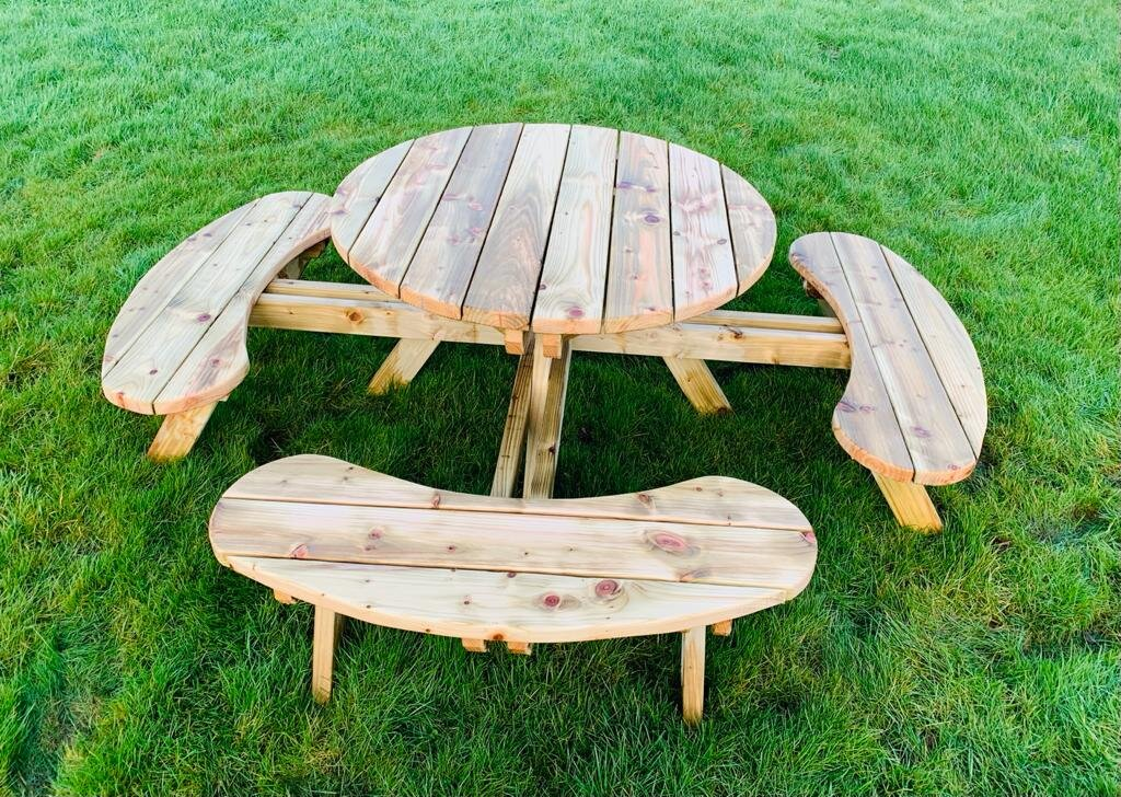 Round Picnic Table With Benches 100, Round Wooden Garden Table And Chairs Ireland
