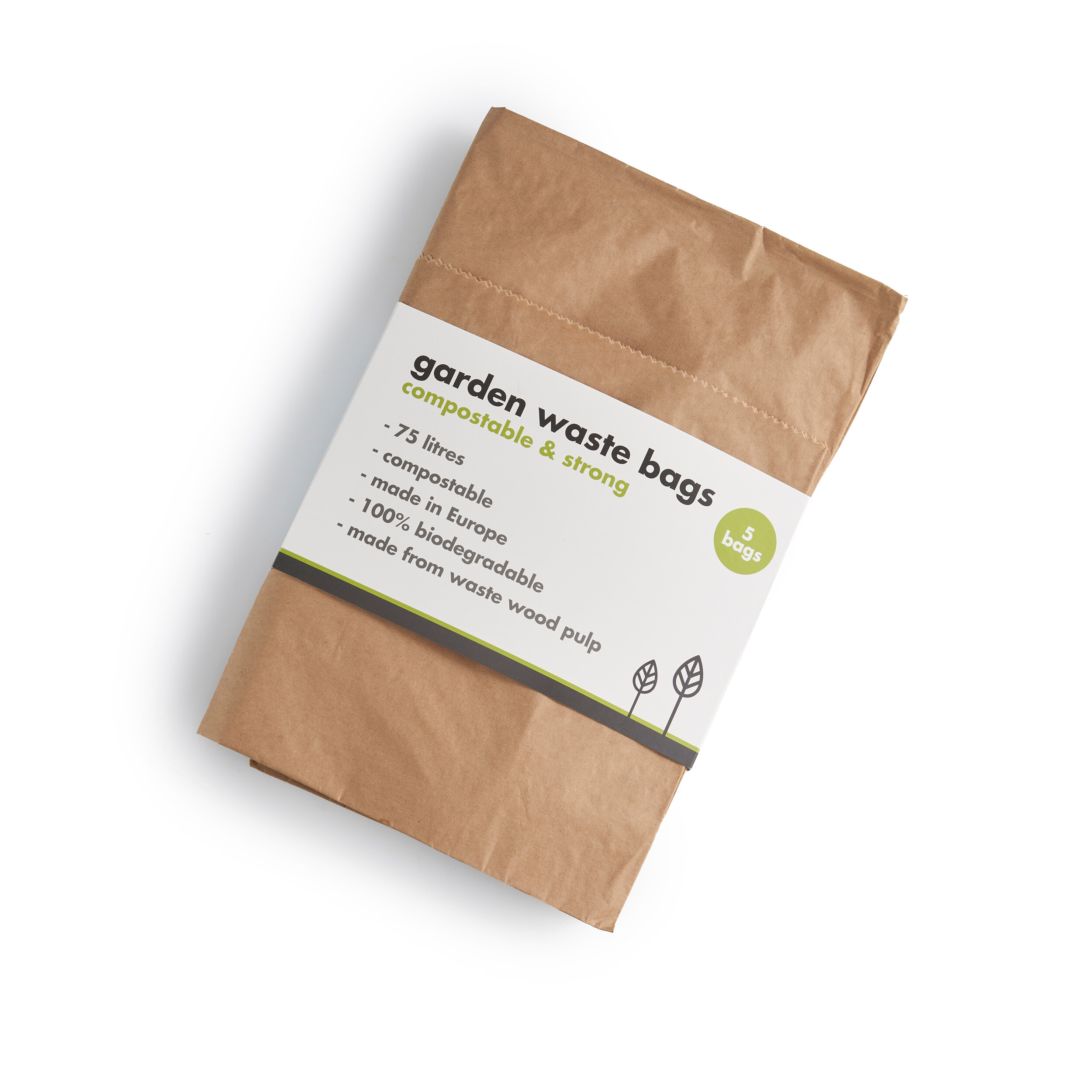 EcoSack 75L Bags with Composting Guide 75 Litre x 40 Paper Garden Waste Sacks Compostable /& Biodegradable Liners