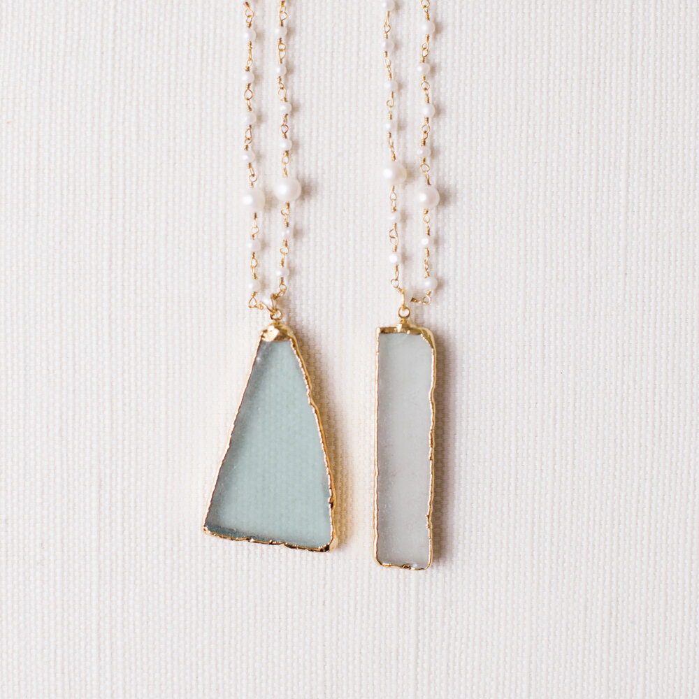Small White Beach Glass Friendship Pendant