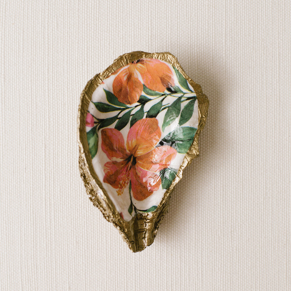 Tropical Decoupage Oyster Shell Dish Grit And Grace Studio