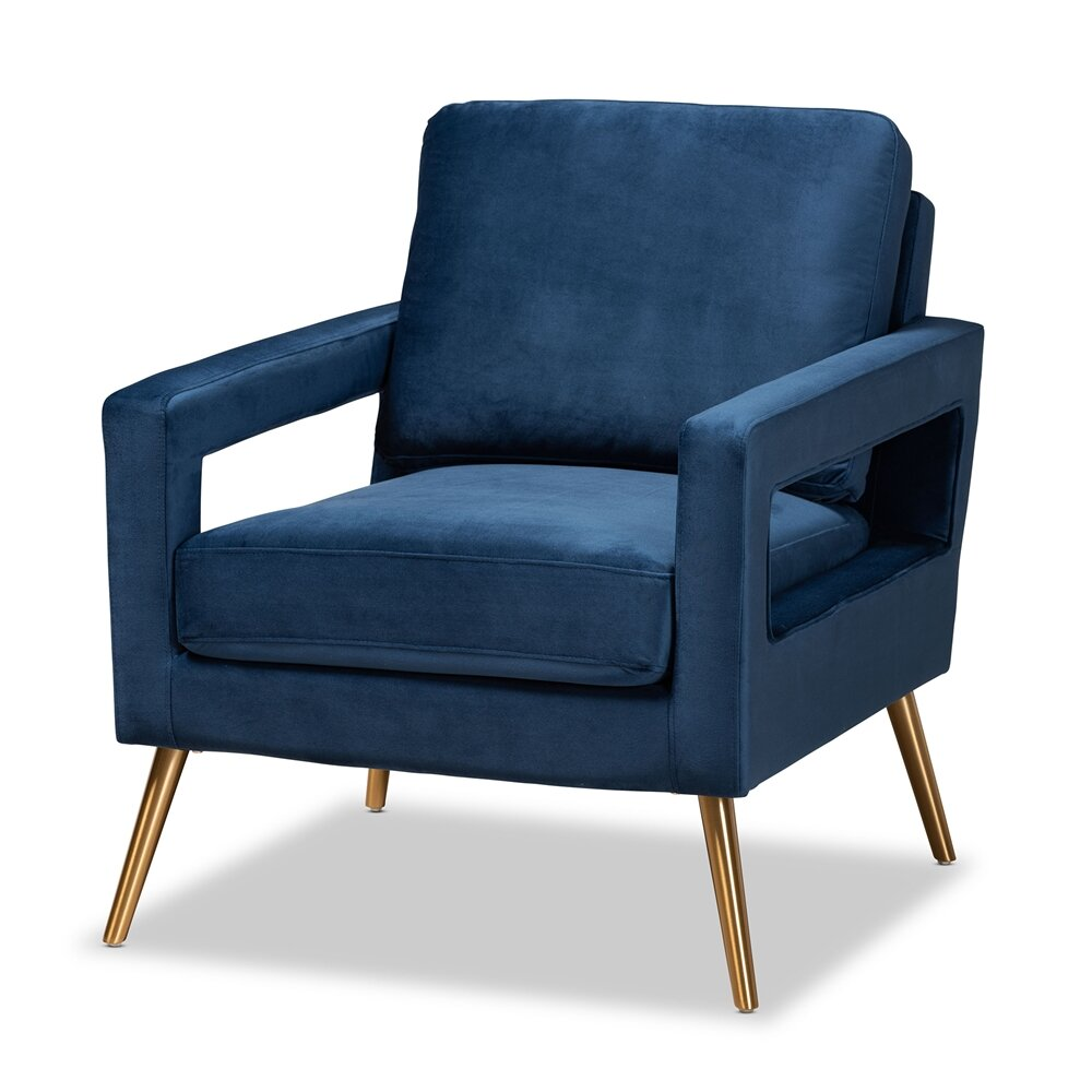 Baxton Studio Leland Glam And Luxe Light Blue Velvet Armchair Sanabria Homes Designs