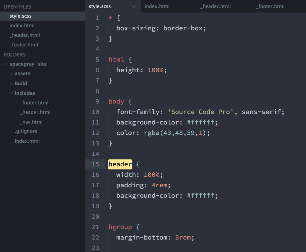 Screenshot of Sublime Text with the Spacegray UI theme enabled.