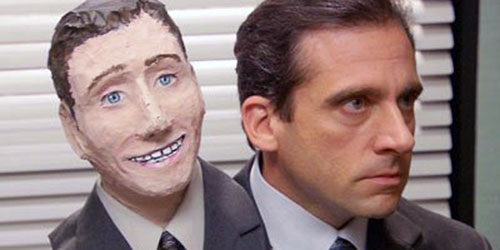 Michael Scott wearing his own head as a halloween costume early in Season 2