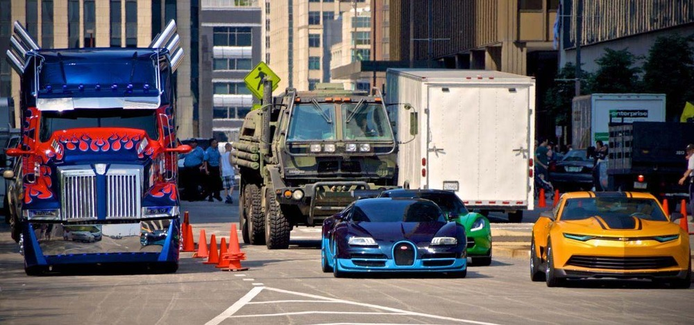 Autobots in their car forms in Transformers: Age of Extinction / via Paramount