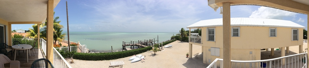 Panorama of the view from our condo's deck in Marathon, FL.