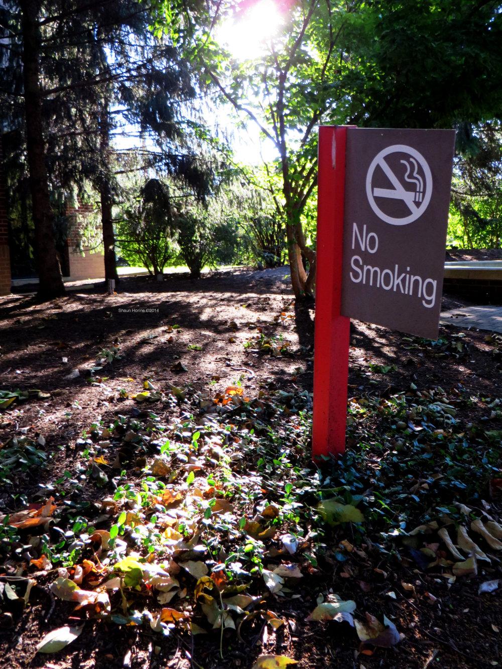 No smoking sign near the fountain. Baptist Hospital Lexington, KY. Canon SX280 HS