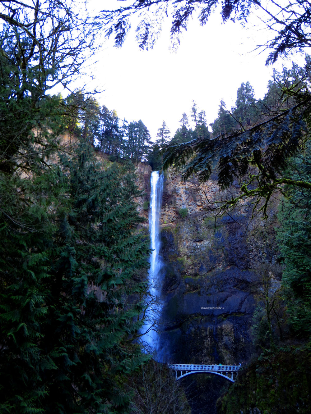 Multnomah Falls at a distance. March 1st, 2015