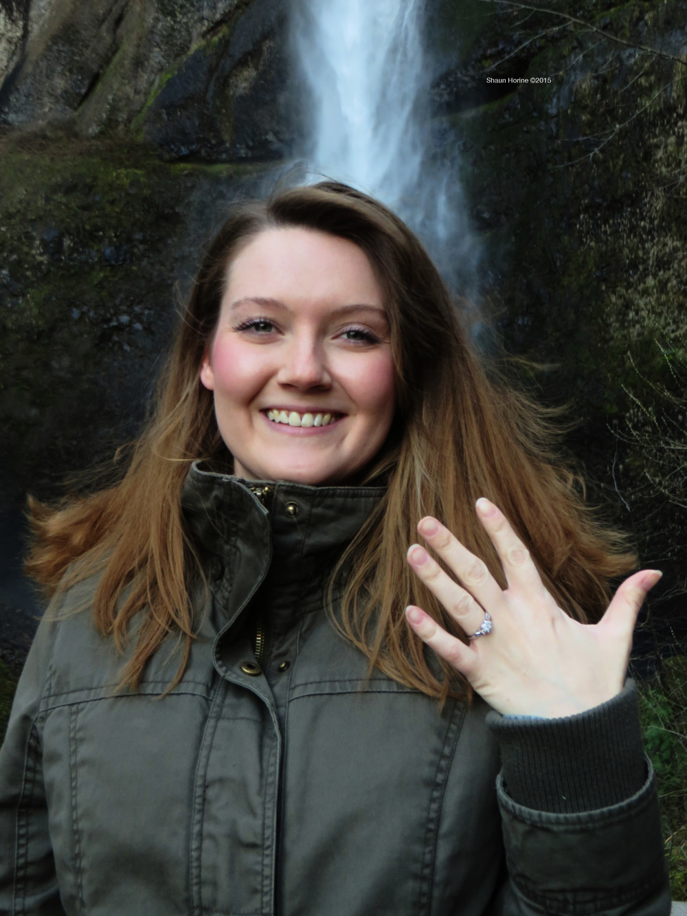 A closer shot of Aeriel and her engagement ring at Multnomah Falls. March 1st, 2015