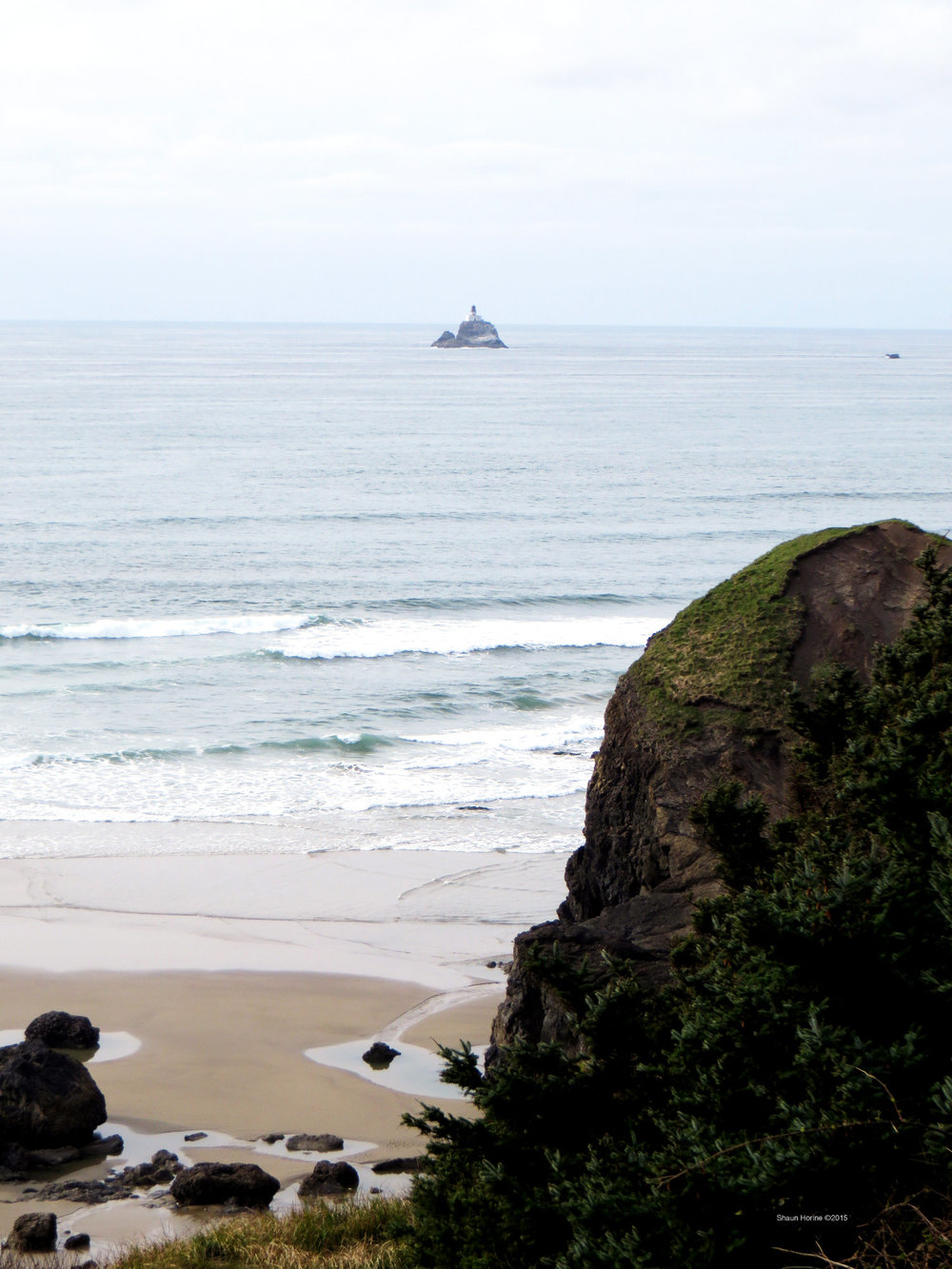 """A lighthouse just off the coast of """"Goonies Rock Beach"""" in Oregon. March 1st, 2015"""