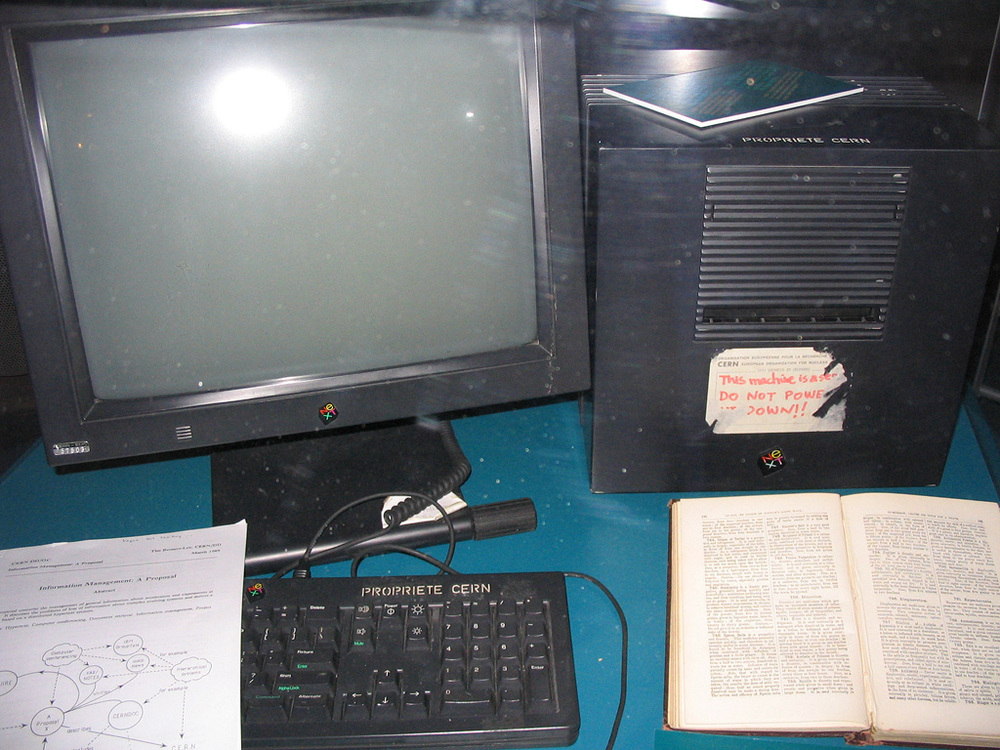 The world's first web server and Tim's workstation at CERN.
