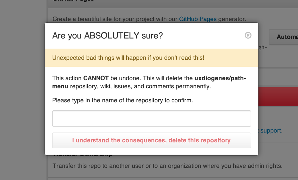 The GitHub delete confirmation dialog.