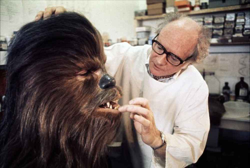 Stuart Freeborn working on Chewbacca for A New Hope, sometime in 1976.