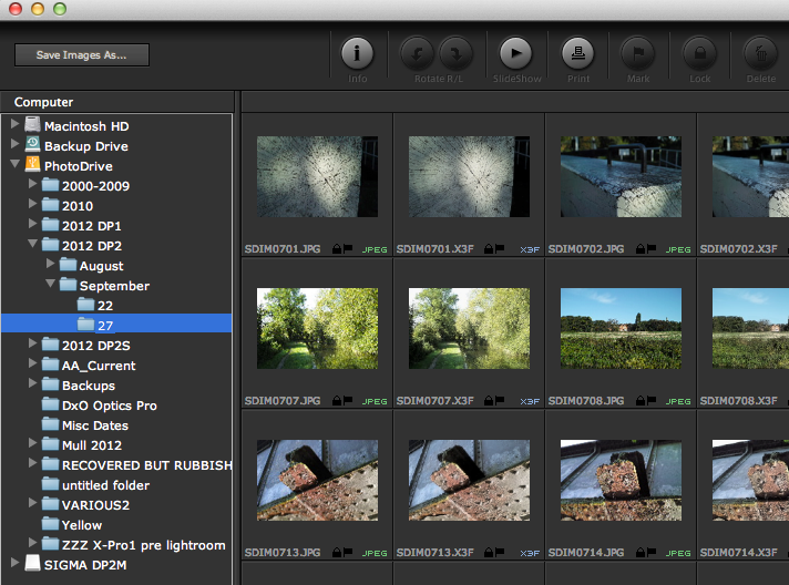 Sigma Photo Pro 5.3 Library Navigation
