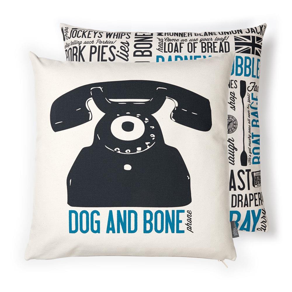 Dog and Bone Cockney Rhyming Slang Cushion