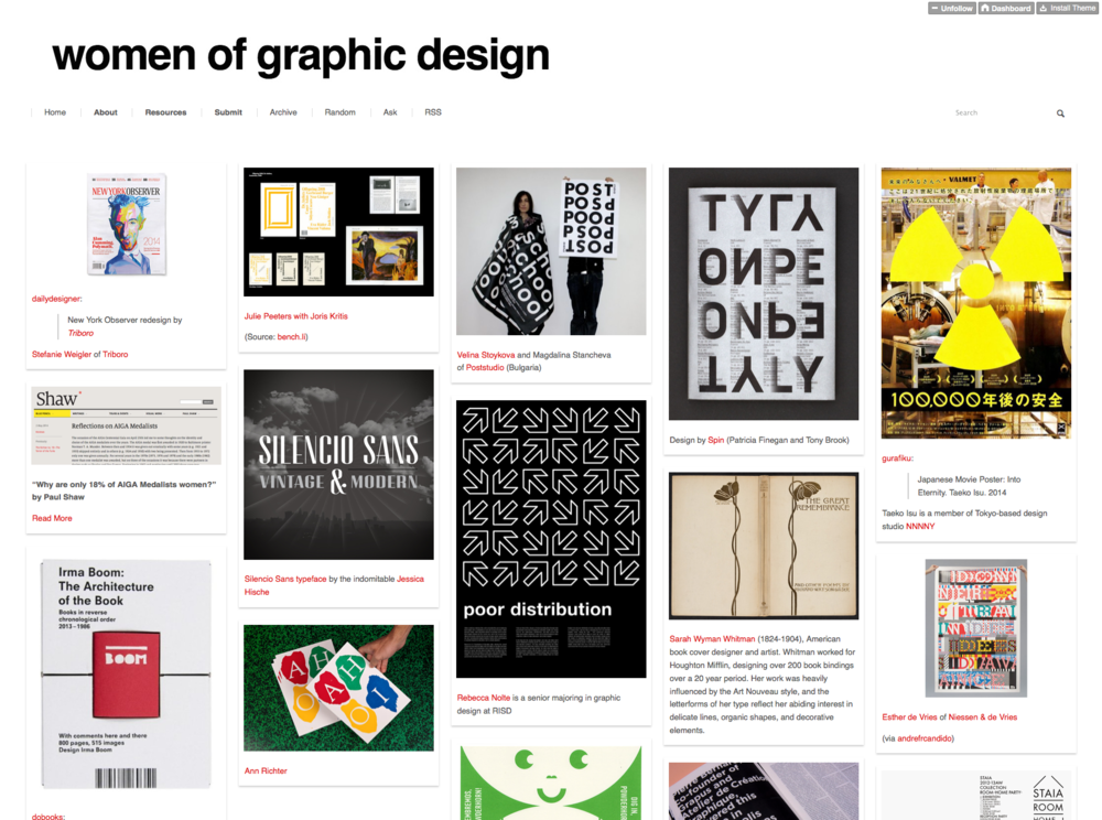Image screengrab from women of graphic design