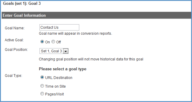 google analytics lead goals
