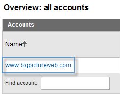 Google Analytics Account Selection