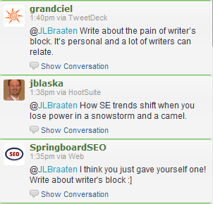 Use Twitter to overcome writer's block