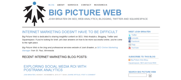 Big Picture Web's old Squarespace Design