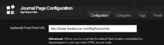 Integrating Squarespace and Feedburner