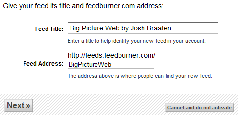 The second part of the Feedburner setup process