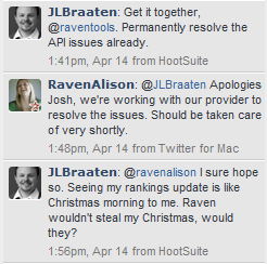 Raven customer service tweets
