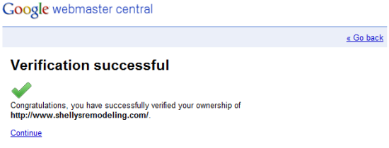 Google Webmaster Tools successful verification