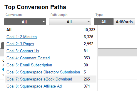 Google Analytics Conversion Paths Report
