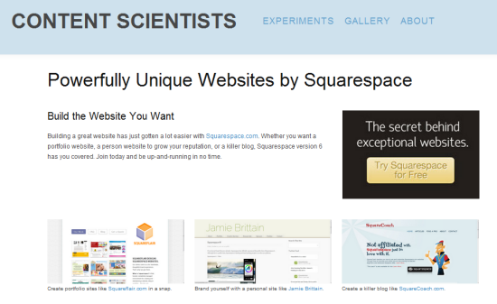 Squarespace landning pages