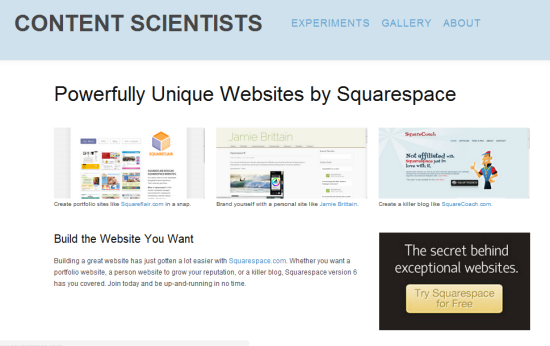 Squarespace landing page optimized