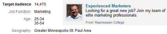 LinkedIn broad targeted ad