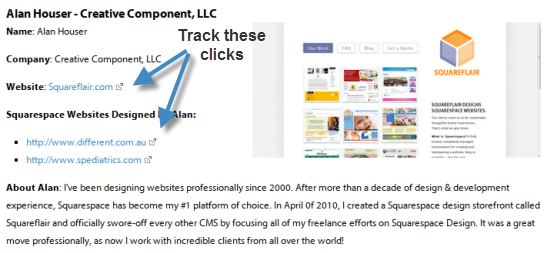 Tracking clicks on a website