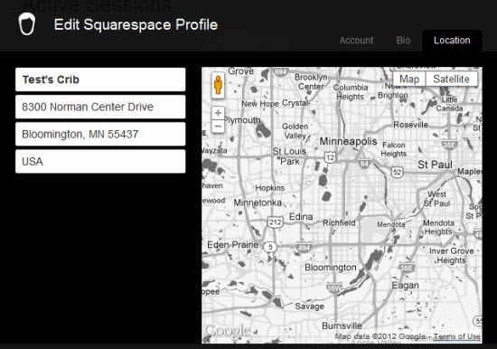 Squarespace location details for authors