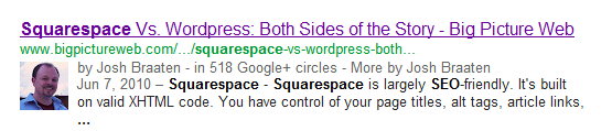 Google's authorship markup snippet