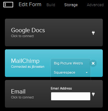 Squarespace and MailChimp fully integrated.